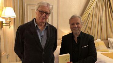 Patrick Roegiers (gauche) et Thierry Bellefroid (gauche) sur le tournage de Sous Couverture