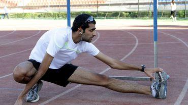 Majd Ghazal, athlète syrien s'entraîne.