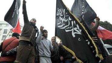Des militants du parti islamiste Ennahda manifestent à Tunis, le 9 février 2013