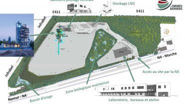 Le plan d'installation de l'usine à tarmac d'Assesse. Elle produirait envrion 185.000 tonnes de tarmac par an, pour les chantiers de la région namuroise