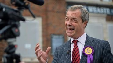 Le 30 septembre 2013, le dirigeant du parti Ukip populiste et europhobe, Nigel Farage, à Weaste, dans le nord-ouest de l'Angleterre