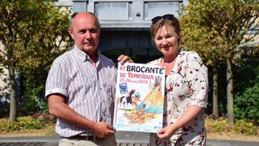 Luc Halleux et Isabelle Beudels , les organisateurs de la 41e édition de la brocante de Temploux