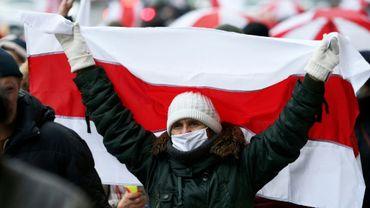 Manifestation d'opposants au régime bélarus, à Minsk, le 23 novembre 2020