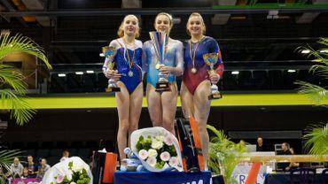 Martina Dominici (Arg), Mathilde Wahl (Fra), Kaytlyn Johnson (USA): le podium du Top Gym 2017 à Charleroi