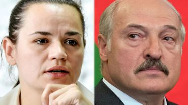 La cheffe de file de l'opposition bélarusse, Svetlana Tikhanovskaïa et le président Loukachenko