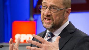 Le patron des sociaux-démocrates allemands, Martin Schulz lors d'une réunion politique à Bielefeld, dans le nord-ouest de l'Allemagne, le 20 février 2017