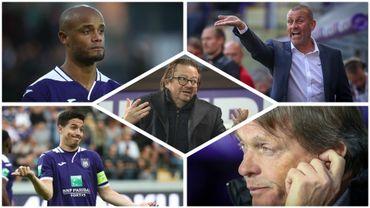 Vincent Kompany, Simon Davies, Samir Nasri, Marc Coucke et Frankie Vercauteren, figures symboliques de l'Anderlecht 2019-2020
