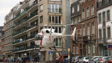 L'hélicoptère en intervention, ici à Spa
