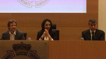 Les coprésidents d'Ecolo, Patrick Dupriez et Zakia Khattabi, et le président de DéFI, Olivier Maingain.