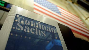 Un panneau Goldman Sachs à Wall street