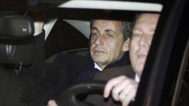 Nicolas Sarkozy à sa sortie du bureau du juge d'instruction ce mardi