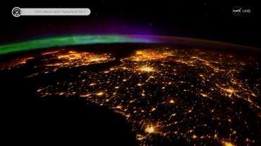 Image d'une aurore boréale filmée depuis l'ISS