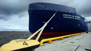 Dénommé « Christophe de Margerie », le premier des 15 méthaniers qui transporteront le gaz de Yamal LNG, le 3 juin 2017 à Saint-Petersbourg