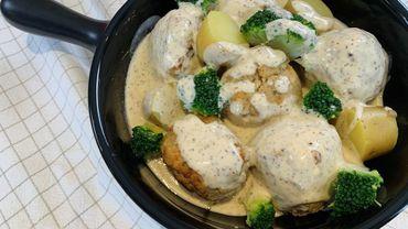 Dans votre assiette ce soir: boulettes de volaille à la crème de moutarde