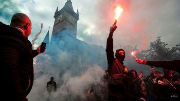 Manifestation à Prague contre les mesures prises par le gouvernement pour contrer la pandémie de Covid-19, le 18 octobre 2020