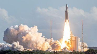 Lancement d'une fusée Ariane 5 depuis le pas de tir de Kourou en Guyane, le 25 juillet 2018