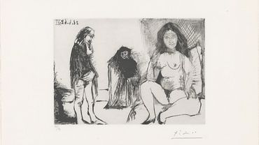 Pensive Man and a Young Woman with Célestine, from 347 Suite, Picasso