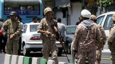 Des membres des Gardes de la révolution iraniens en patrouille après un double attentat suicide, le 7 juin 2017 à Téhéran