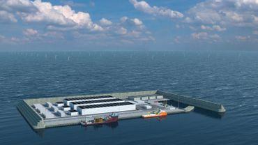 Maquette du futur pôle énergétique danois, qui fournira en électricité renouvelable plusieurs pays de l'Union européenne.