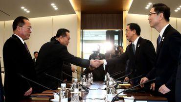 Une rencontre entre des représentants nord-coréens et leurs homologues du sud, le 9 janvier 2018.