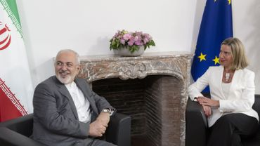 Iranian Foreign Minister Mohammad Javad Zarif (L) meets with European Union Foreign Policy Chief Federica Mogherini, to discuss Iran's nuclear deal, on May 15, 2018 at the EU headquarters in Brussels.