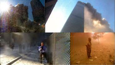 L'immeuble en flammes (en haut à droite) qui s'effondre (en haut à gauche) et les gens qui s'encourent (en bas à gauche) pour laisser place ensuite à la poussière et aux rescapés (en bas à droite).