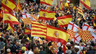 """Manifestation pour revendiquer la création de """"Tabarnia"""", une région fictive de la Catalogne fidèle à l'Espagne, le 4 mars 2018 à Barcelone"""