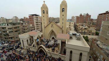 Vue générale d'une église visée par une attaque revendiquée par l'EI à Tanta, dans le nord de l'Egypte, prise le 11 avril 2017, soit deux jours après l'attentat