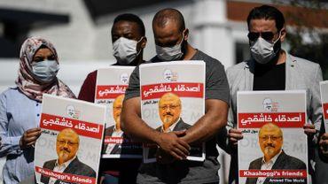 Manifestation devant le consulat d'Arabie Saoudite à Istanbul à l'occasion des 2 ans du meurtre de Khashoggi