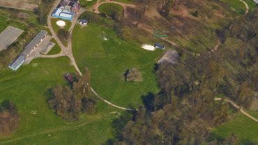 Le parc communal de Châtelet vu du ciel