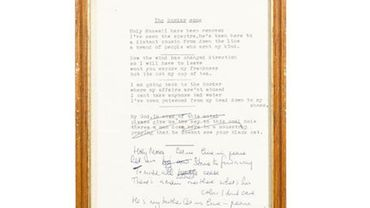 """Texte original de la chanson d'Elton John """"The Border Song"""" comportant des annotations rédigées par le chanteur anglais."""