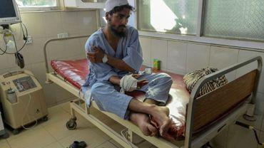 Un blessé soigné à l'hôpital après un attentat suicide le 18 septembre 2019 à Jalalabad
