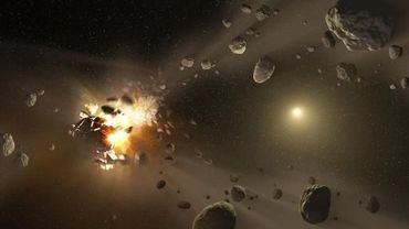 Image de synthèse reproduisant la formation d'astéroïdes, fournie par la Nasa le 30 mai 2013