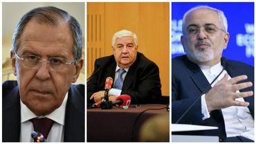 Sergeï Lavrov (Russie), Walid Mouallem (Syrie), Mohammad Javad Zarif (Iran)