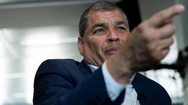Rafael Correa, l'ancien président équatorien, à Bruxelles, le 11 avril 2019
