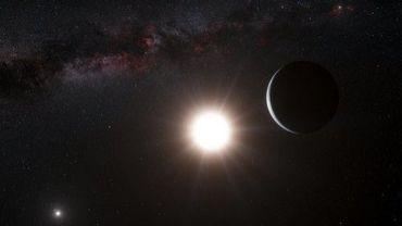 Image fournie par l'Observatoire européen austral (ESO) montrant une illustration d'une planète en orbite près de l'étoile Alpha Centauri B (C)