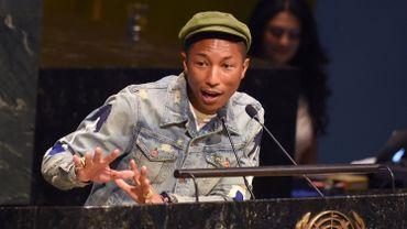 Pharrell Williams à la tribune de l'Assemblée générale des Nations unies le 20 mars 2015
