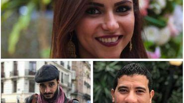 Solafa Magdy, son mari Hossam El-Sayed et l'avocat Mohamed Salah.
