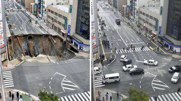 Un trou de 30 mètres dans le sol réparé en seulement deux jours à Fukuoka au Japon