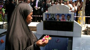 Funérailles d'un journaliste membre d'une équipe d'humanitaires de l'OIM à Bujumbura le 20 octobre 2015