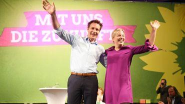 Ludwig Hartmann et Katharina Schulze des Verts allemands lors d'une réunion électorale à Munich le 7 octobre 2018.