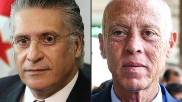 Montage de photo créé le 16 septembre 2019 montrant les deux candidats à la présidentielle tunisienne Nabil Karoui (à gauche) magnat des médias actuellement emprisonné  et Kais Saied (à droite), universitaitaire indépendant sans affiliation politique. Les deux sont qualifiés aux deuxième tour selon des sondages