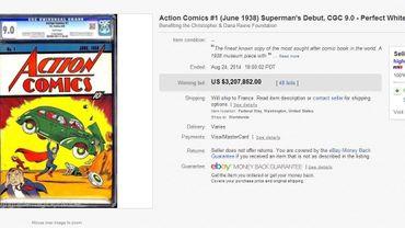 """Capture d'écran de la page Ebay de la vente du numéro 1 d'""""Action Comics"""""""