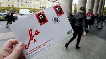 """Un timbre à l'effigie de Ernesto """"Che"""" Guevara, édité à l'occasion du 50e anniversaire de sa mort."""