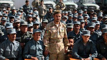 Le général afghan Abdul Raziq (au centre) le 19 février 2018 dans une académie de police