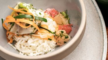 Lotte (ou cabillaud) au pamplemousse et riz basmati
