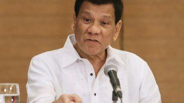 Le président philippin Rodrigo Duterte, le 9 février 2018 à Davao, sur l'île de Mindanao