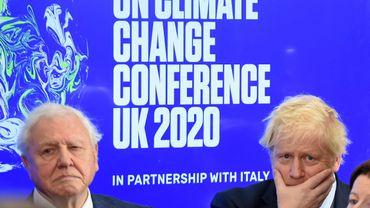 David Attenborough et le premier ministre Boris Johnson au lancement de la COP26 de Glasgow, à Londres le 04 février 2020