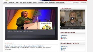La page d'accueil de l'ambassade virtuelle des Etats-Unis en Iran