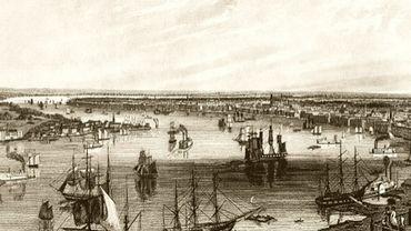 La Nouvelle Orléans vers 1850 (détail), gravure de J.W Hill (Angleterre, 1812-1879) - coll. privée